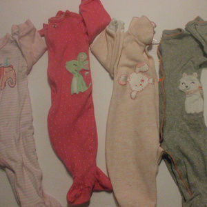 Lot of 4 Girls Rompers 6 Months Cotton Blend